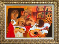 Fauvist Style Portrait 'Sisters' Original Colorist, Feminine-Inspired Painting