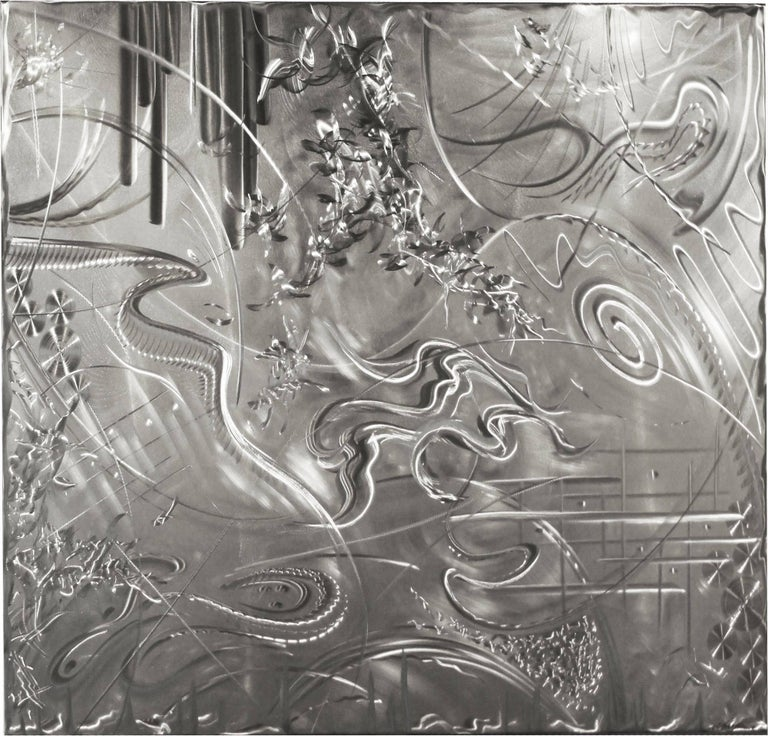 Ground Metal Art 'Thunderstorm' Abstract Stainless Steel Original Artwork