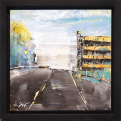 Urban City Life Art 'Orange Garage' Abstract Impressionism Cityscape Painting