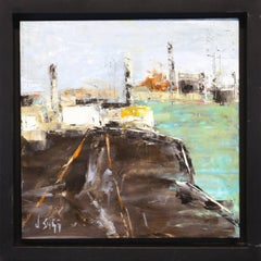 City Pier - Contemporary Cityscape Painting Abstract City Art Urban Life Artwork