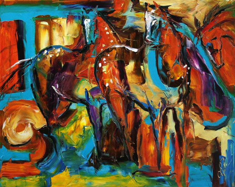 Appaloosa in the Wind - Original Horse Painting Colorful Equine Art Modern Art