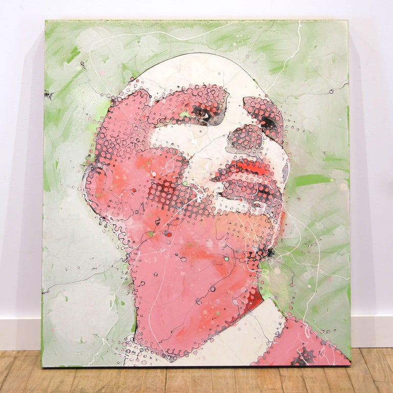 Urban Portrait Painting 'Pink Emotion' Freehand Oil Paint Drip/Drizzle Art For Sale 1