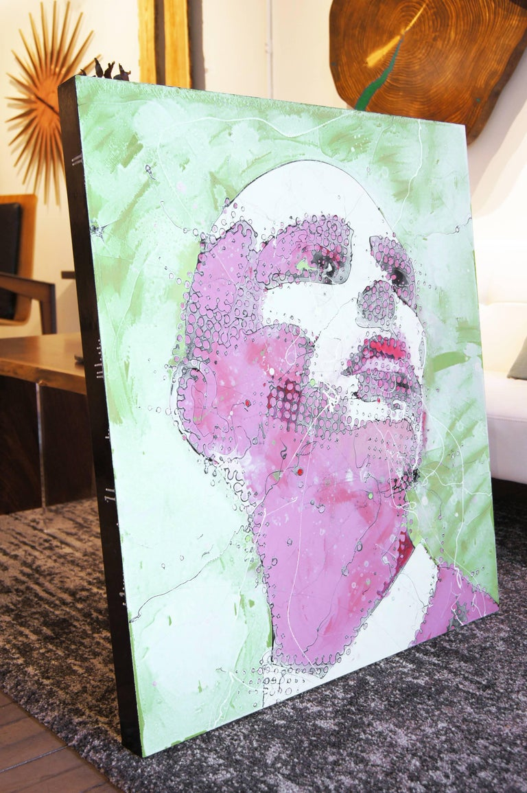 Urban Portrait Painting 'Pink Emotion' Freehand Oil Paint Drip/Drizzle Art For Sale 3