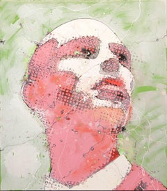 Urban Male Portrait Painting 'Pink Emotion' Freehand Oil Paint Drip/Drizzle Art