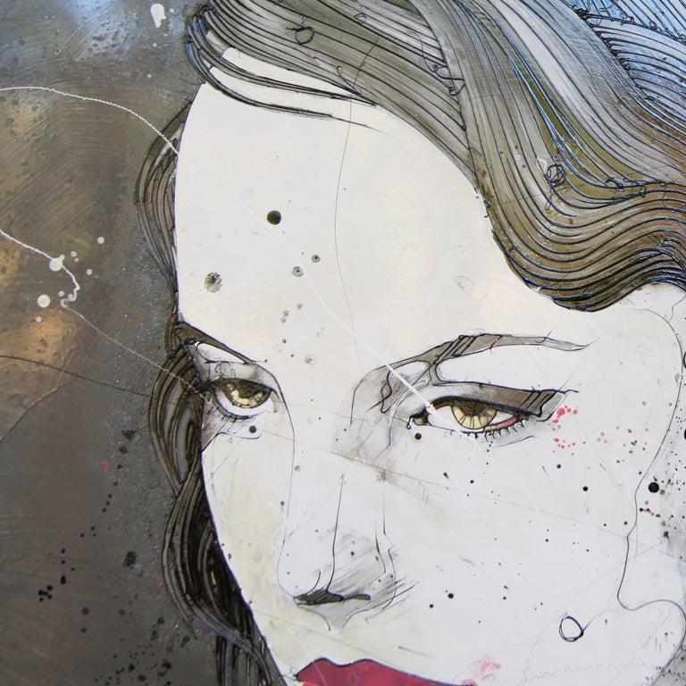 Urban Feminine Portrait Painting 'Solemn' Freehand Oil Paint Drip/Drizzle Art For Sale 2