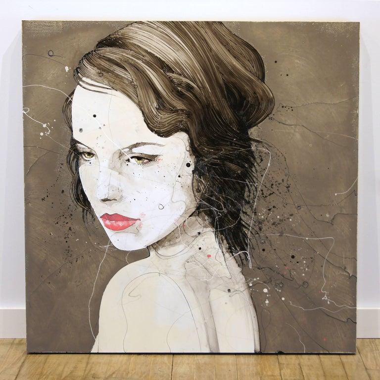 Urban Feminine Portrait Painting 'Solemn' Freehand Oil Paint Drip/Drizzle Art For Sale 1