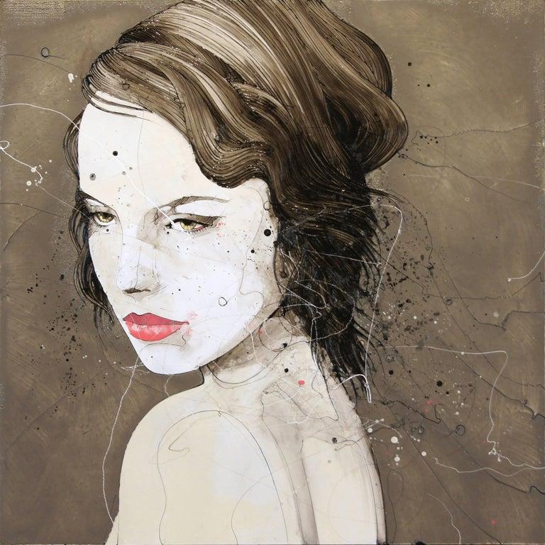 Urban Feminine Portrait Painting 'Solemn' Freehand Oil Paint Drip/Drizzle Art