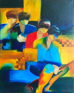 Fauvist Style Golf Painting 'Foursome' Colorful, Contemporary Golfers Portrait