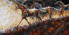 Running the Ridge at Dusk - Original Horse Painting Colorful Equine Modern Art