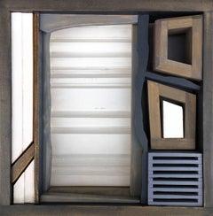 Modern Wood Sculpture 'Lex Agraria' Minimalist Wooden Art, Geometric Artwork