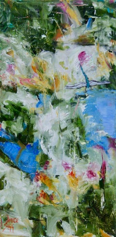Abstract Dragonfly Painting 'Blue Green Dragonfly I' Urban Art Wildlife Artwork