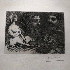 Marie-Therese en idole et trois Grecs Barbus