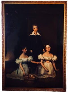Huge Full length portrait of the Chandos-Pole Family Of Radbourne Hall England