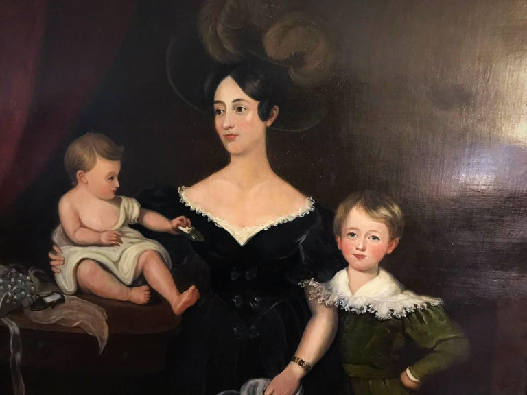 Huge Full length portrait of the Chandos-Pole Family Of Radbourne Hall England  - Painting by Unknown