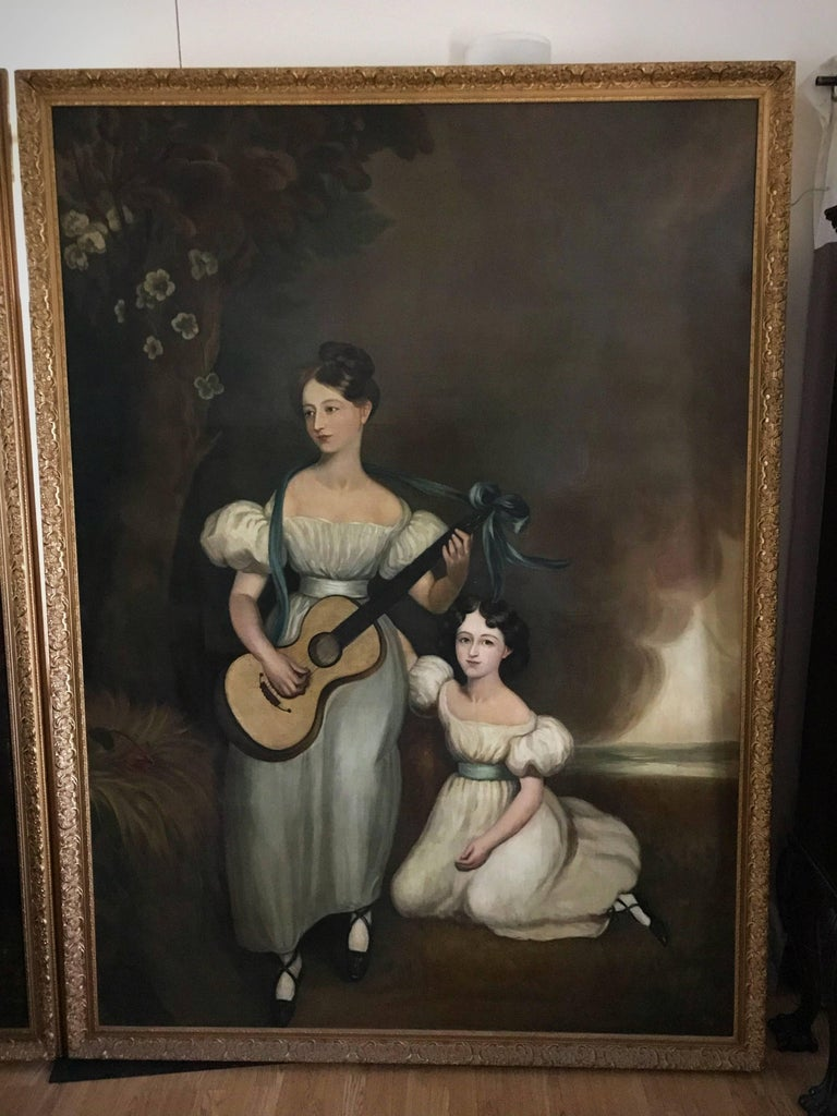 Unknown Portrait Painting - Huge Full length portrait of the Chandos-Pole Family Of Radbourne Hall England