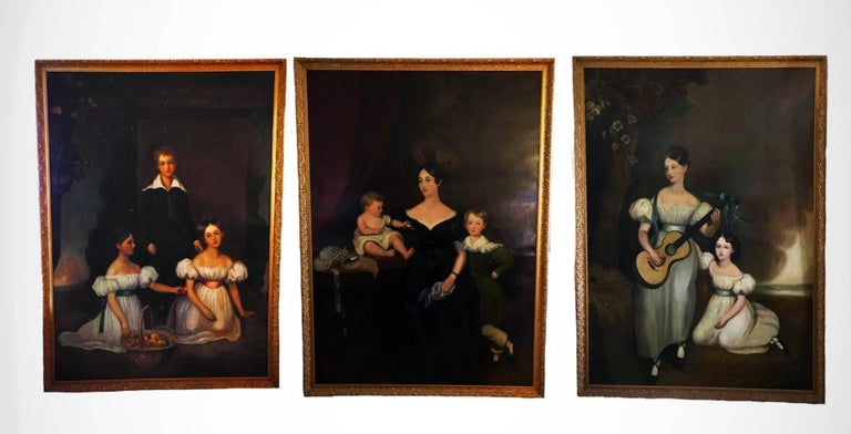 Three full length portraits of the Chandos-Pole Family from Radbourne Hall U.K
