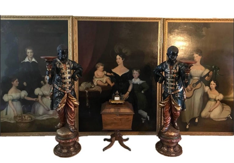Three full length portraits of the Chandos-Pole Family from Radbourne Hall U.K - Painting by Unknown