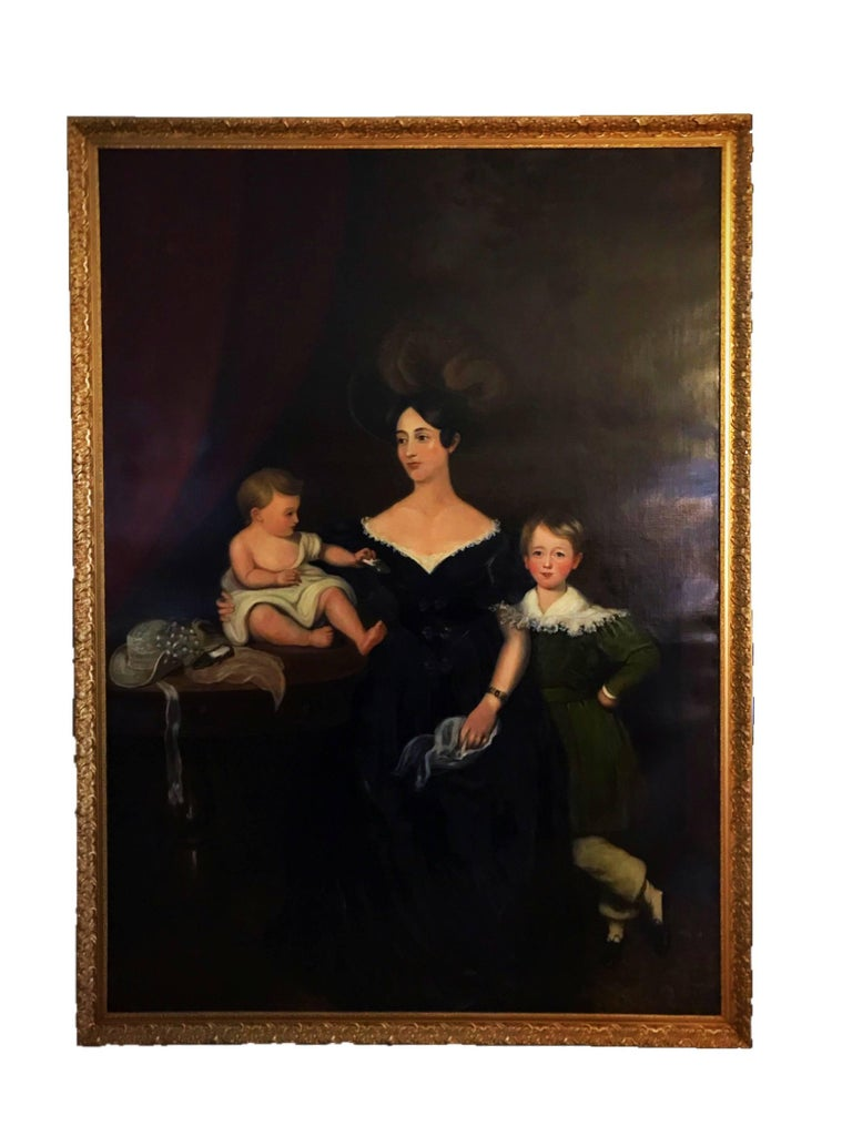 Three full length portraits of the Chandos-Pole Family from Radbourne Hall U.K - Black Portrait Painting by Unknown