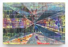 Joe Lloyd, Yellow Pattern, acrylic on canvas, geometric abstract painting, 48x72