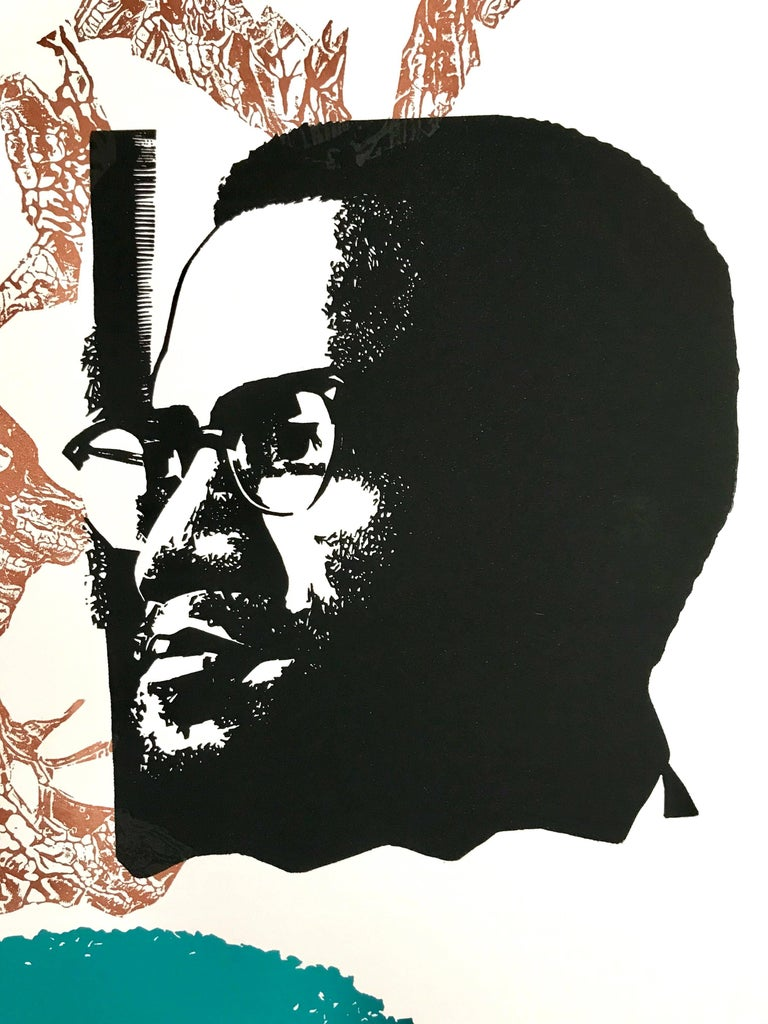 MALCOLM X SPEAKS FOR US, Signed Linocut, African American Civil Rights Activist - Black Print by Elizabeth Catlett