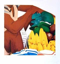 BAZURTO Cartagena Market, Signed Lithograph, Bananas, Avocados, Latin American