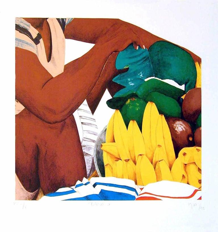 Bazurto, Cartagena Market, Signed Original Lithograph, Latin American Art
