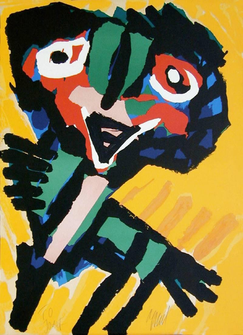 YELLOW PERSONAGE Signed Lithograph, Abstract Collage Portrait, CoBrA Artist