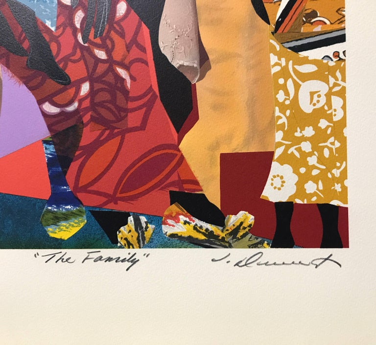 The Family, Original Lithograph Colorful Collage Effect - Black Figurative Print by James Denmark