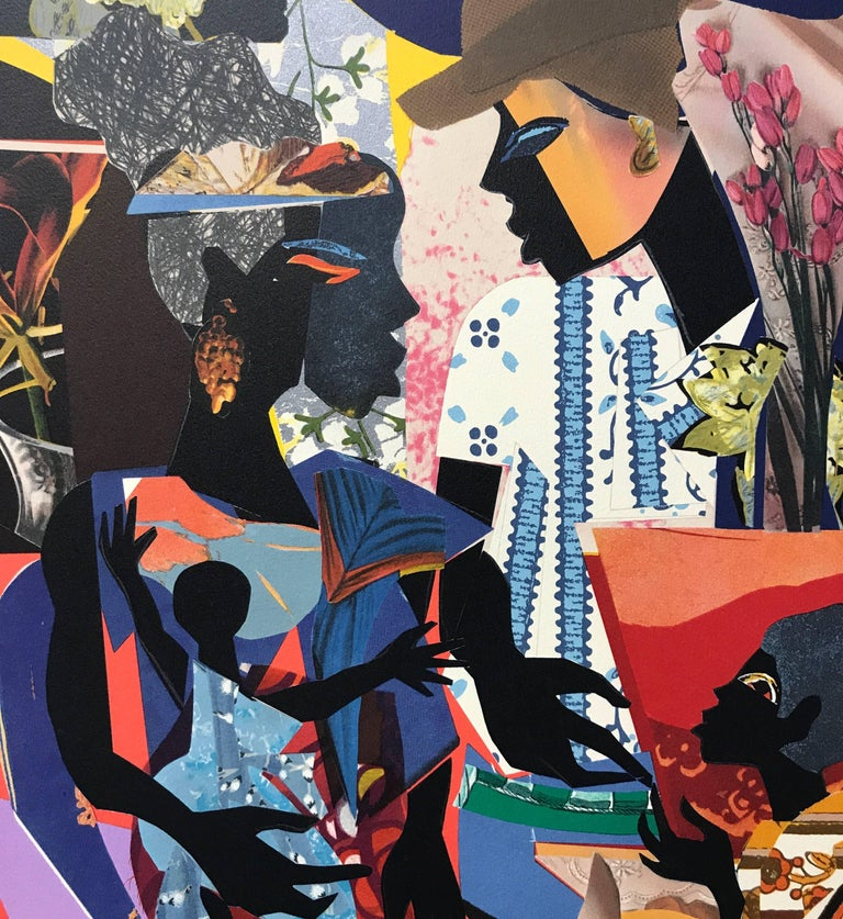 Original hand drawn, limited edition lithograph of 100 prints by James Denamark, printed using hand lithography on Arches paper 100% acid free. Rich, vivid multi color composition comprised of colored papers, printed fabric, wallpaper, magazine