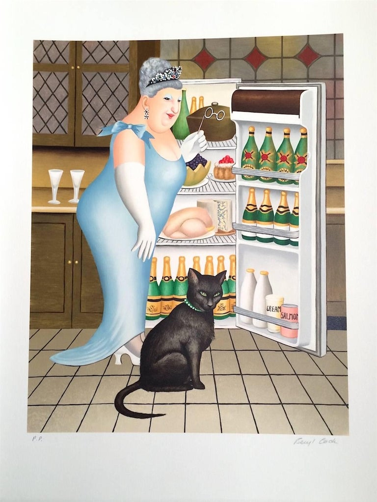 PERCY AT THE FRIDGE Signed Lithograph, Black Cat, Champagne, British Humor - Print by Beryl Cook