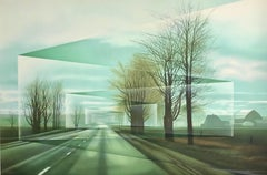 Roads, Hand Drawn Lithograph, Country Road Landscape