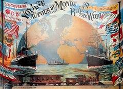 """Voyage Autour du Monde, World Travel Poster, Oversize Fine Art Print 53"""""""