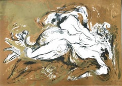 Lovers, Erotic Romanticism, Hand Drawn Lithograph with Gold Accents, Mexican