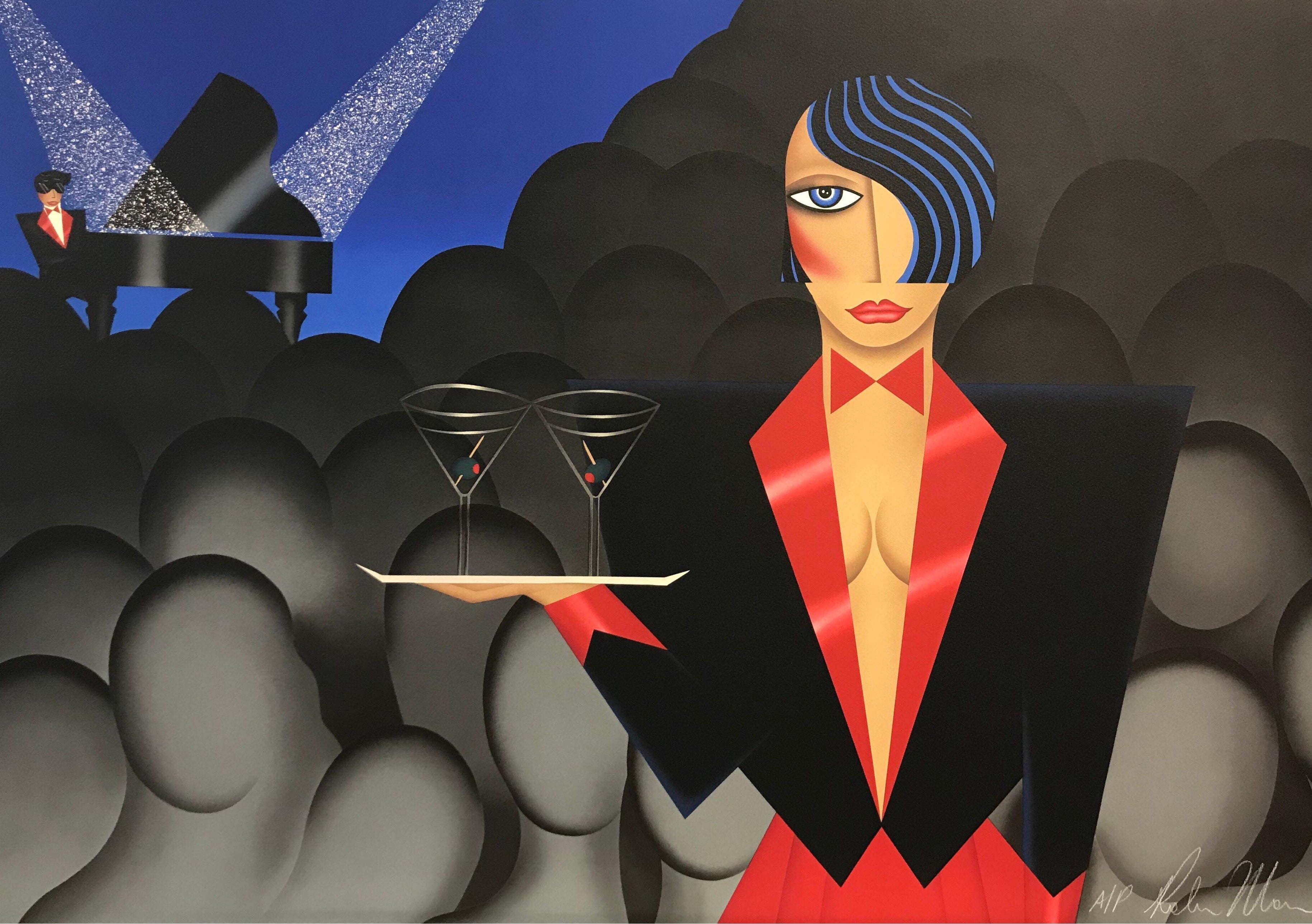 ALONE IN A CROWD Signed Lithograph, Woman Cocktail Waitress, Martini, Art Deco