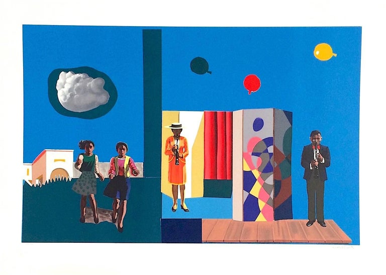 FUGUE Signed Original Lithograph, Music, Balloons, African American Art - Contemporary Print by Hughie Lee-Smith
