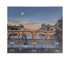 Pont Neuf Le Soir, Signed Original Lithograph, Paris Evening Scene