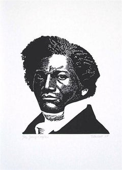 YOUNG DOUGLASS Signed Linocut Black and White Portrait African American History