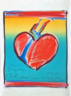 Heart II-LOVE, Original Hand Drawn Pastel/Lithograph on Arches