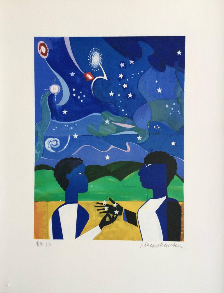Two Worlds, Faces Of The Future, Signed Lithograph, Starry Night - Print by Romare Bearden
