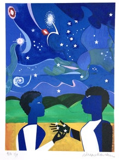 Two Worlds, Faces Of The Future, Signed Lithograph, Celestial Blue Sky