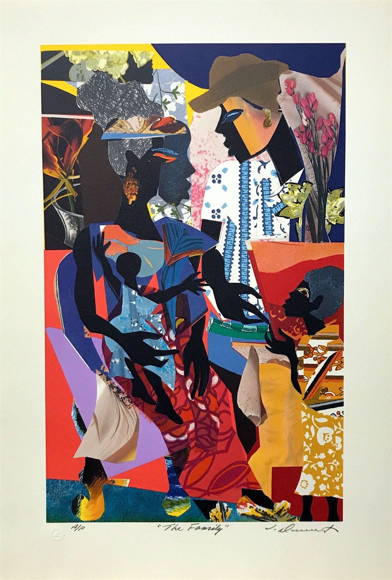 The Family, Original Lithograph Colorful Collage Effect - Print by James Denmark