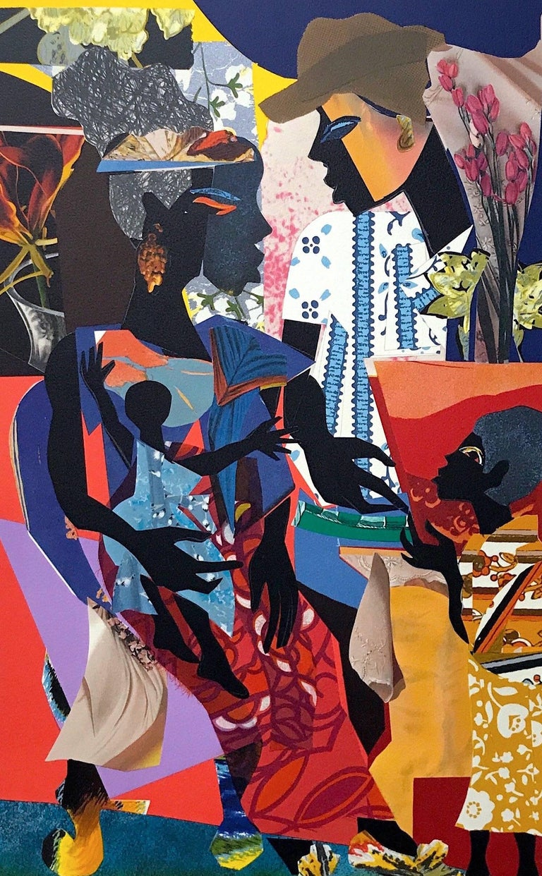 James Denmark Figurative Print - The Family, Original Lithograph Colorful Collage Effect