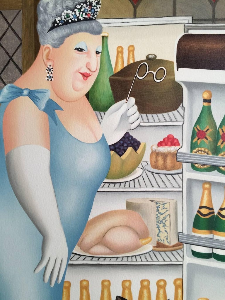 PERCY AT THE FRIDGE is a hand drawn, pencil signed limited edition lithograph by the well known and loved British artist and humorist, Beryl Cook. Printed on archival Arches paper, 100% acid free, print size 28