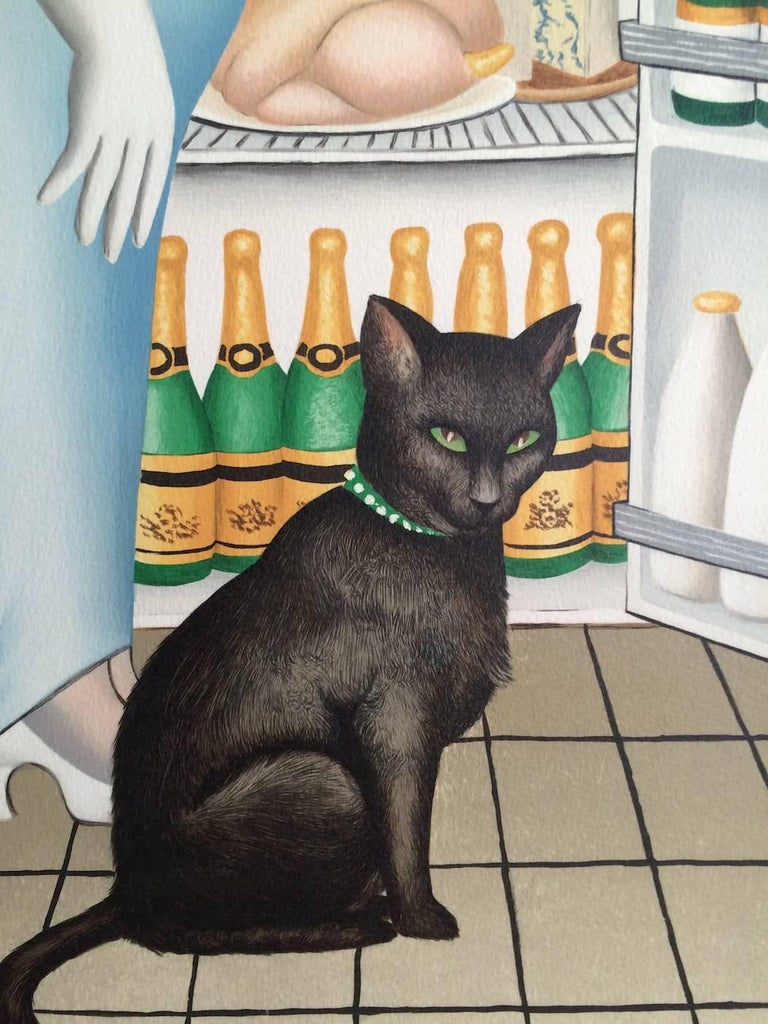 PERCY AT THE FRIDGE Signed Lithograph, Black Cat, Champagne, British Humor For Sale 1