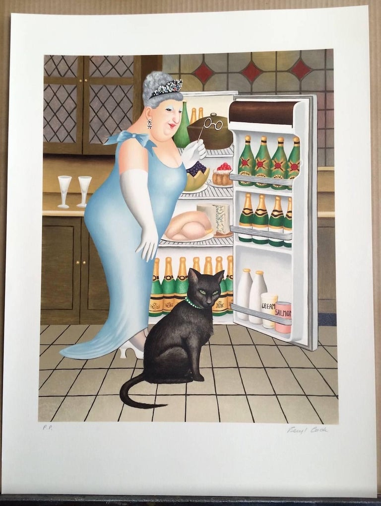 PERCY AT THE FRIDGE Signed Lithograph, Black Cat, Champagne, British Humor For Sale 2