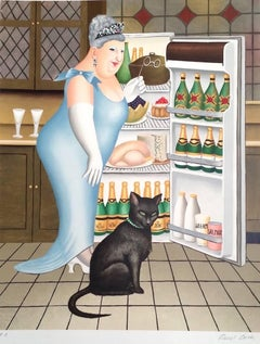 Percy At The Fridge, Pencil Signed Hand Drawn Lithograph, British Humour