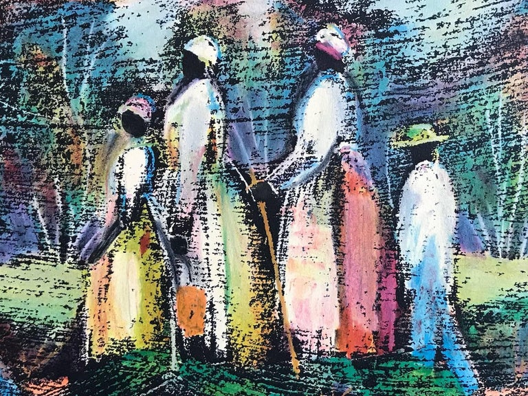GOING TO CHURCH Signed Lithograph, Southern Landscape, African American Heritage For Sale 2