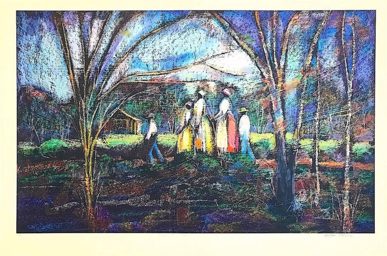 GOING TO CHURCH Signed Lithograph, Southern Landscape, African American Heritage For Sale 1