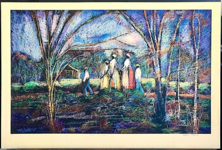 GOING TO CHURCH Signed Lithograph, Southern Landscape, African American Heritage For Sale 6