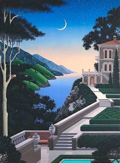 Giardino Segretto, Signed Lithograph, Moonlight Architecture Landscape